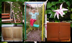 děti a zahradní nábytek houpačka koláž
