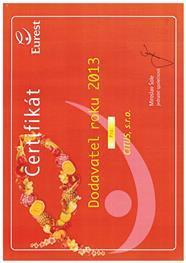 Certifikát - dodavatel roku 2013
