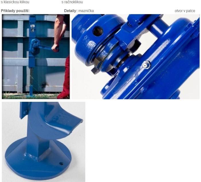 Hřebenový zvedák patkový - příklad použití
