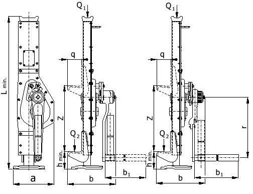 Hřebenový zvedák patkový - výkres a rozměry