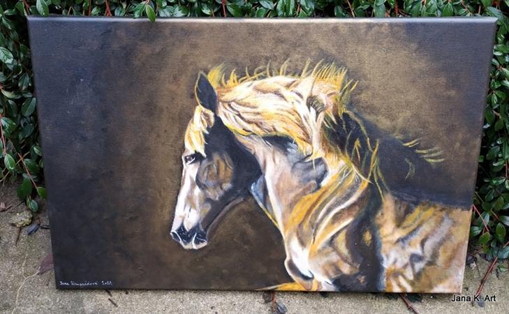 Jana K.Art - S větrem o závod, detail hlavy koně akryl plátno 60cm x 40cm ve zlatavém nádechu