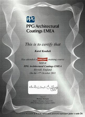 Certifikát školení profesionálních materiálů, Birstall England Karel Koubek