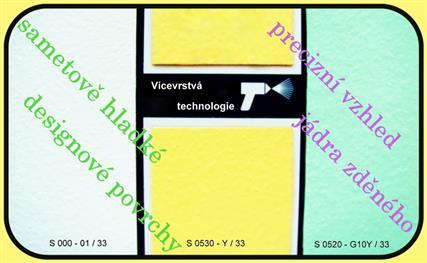 Ukázka vzhledu vícevrstvé povrchové úpravy povrchů umakartů