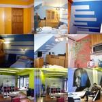 Koláž barevný svět, malířství natěračství s foto barevně renovovaných bytů v oranžově lesklé barvě s bílým pruhem nad dveřmi a modré ložnice s pruhy plus kadeřnictví v příjemně zelené barvě s majitelkou