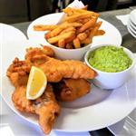 Fish and chips, hráškové pyré