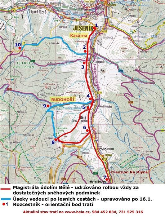 penzion Na Mlýně - mapa běžkařských tras v údolí Bělé